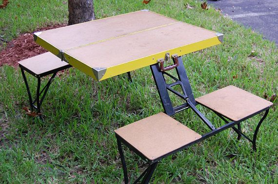 Vintage Folding Picnic Table Vintage Folding Table And Four