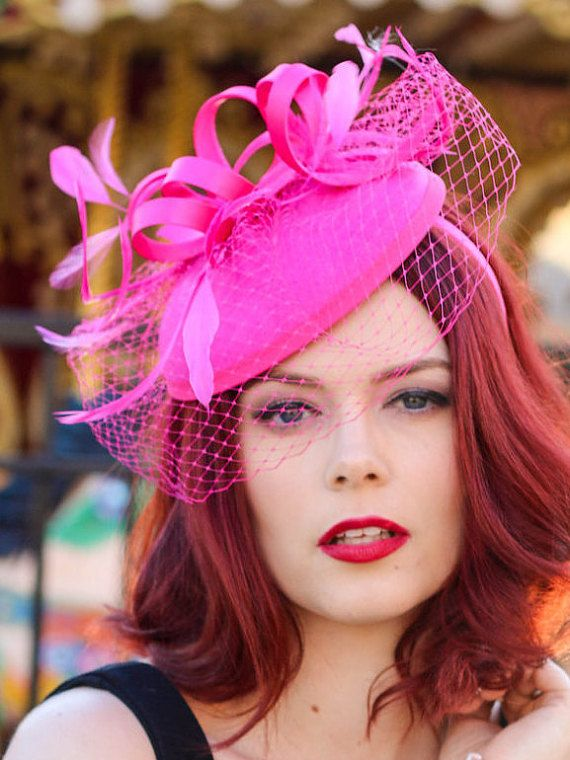 Hot Pink Fascinator with Veil Tea Party Hat by QueenSugarBee  e6db85e8aa2
