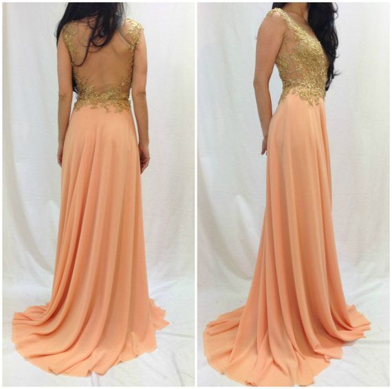 Peach lace dress long