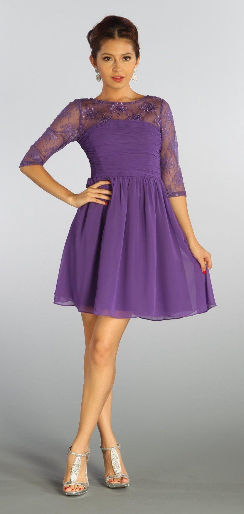 Mid length dresses for wedding guests  Illusion Neck Mid Length Sleeves Purple Graduation Dress Chiffon