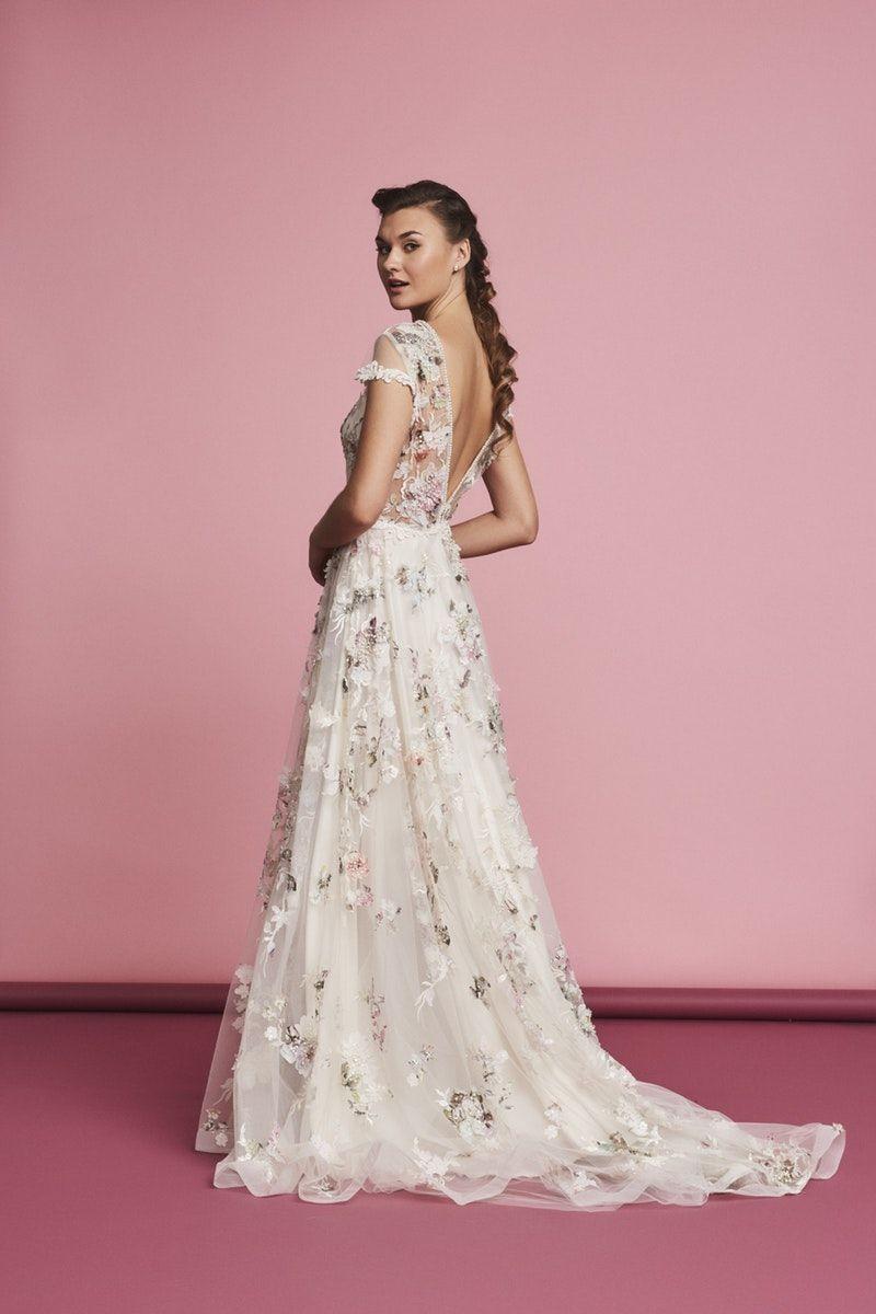 Amelia by Savin London floral creative unique wedding dress pretty ...
