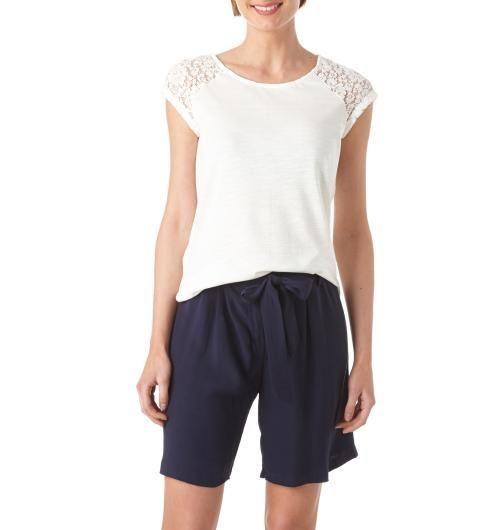 T-shirt+détail+dentelle+Femme