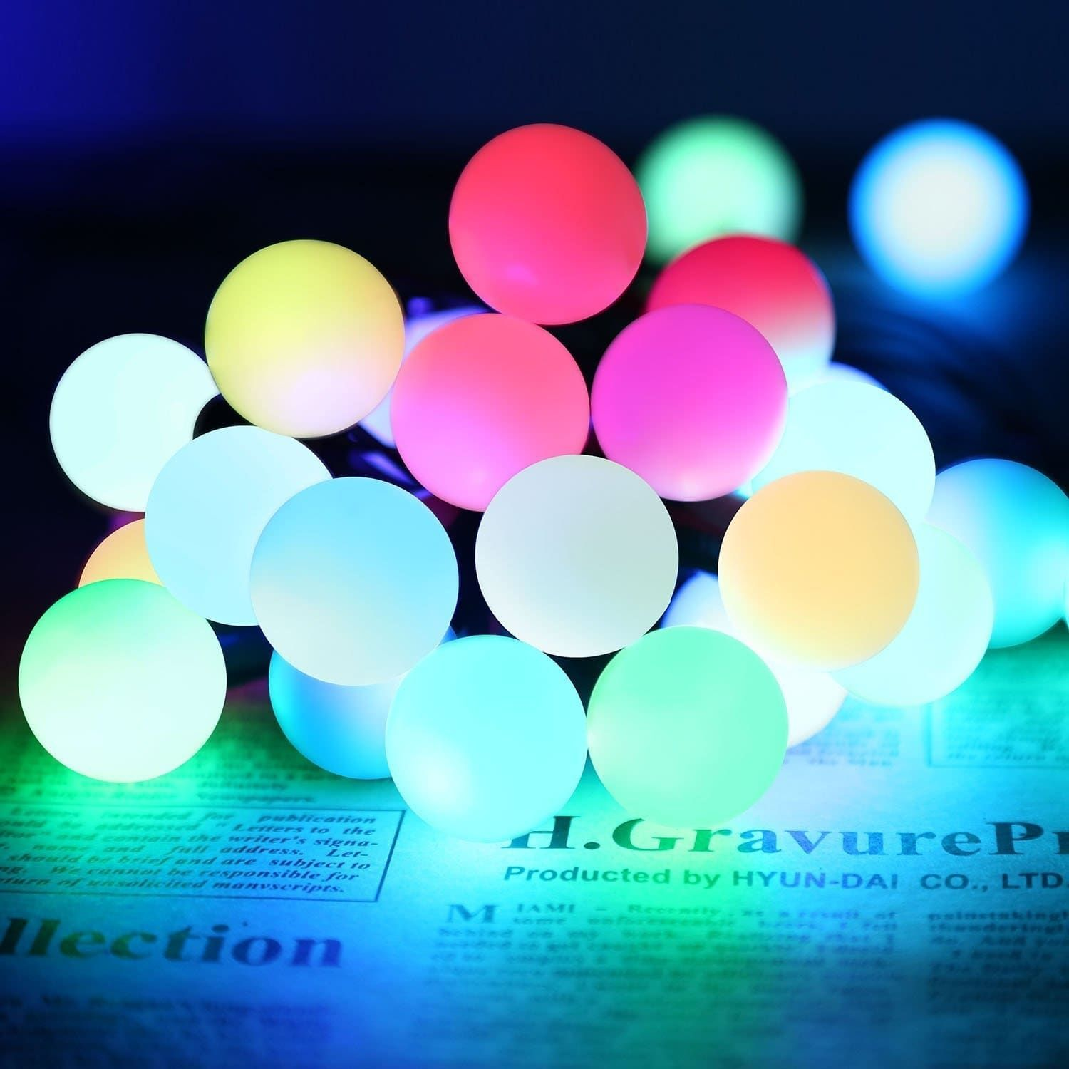 Automatic Color Changing RGB Ball LED String Lights, 20ft 50 LEDs ...