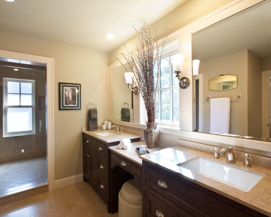 Bathroom Vanity In Front Of Window double vanity design, pictures, remodel, decor and ideas - make up