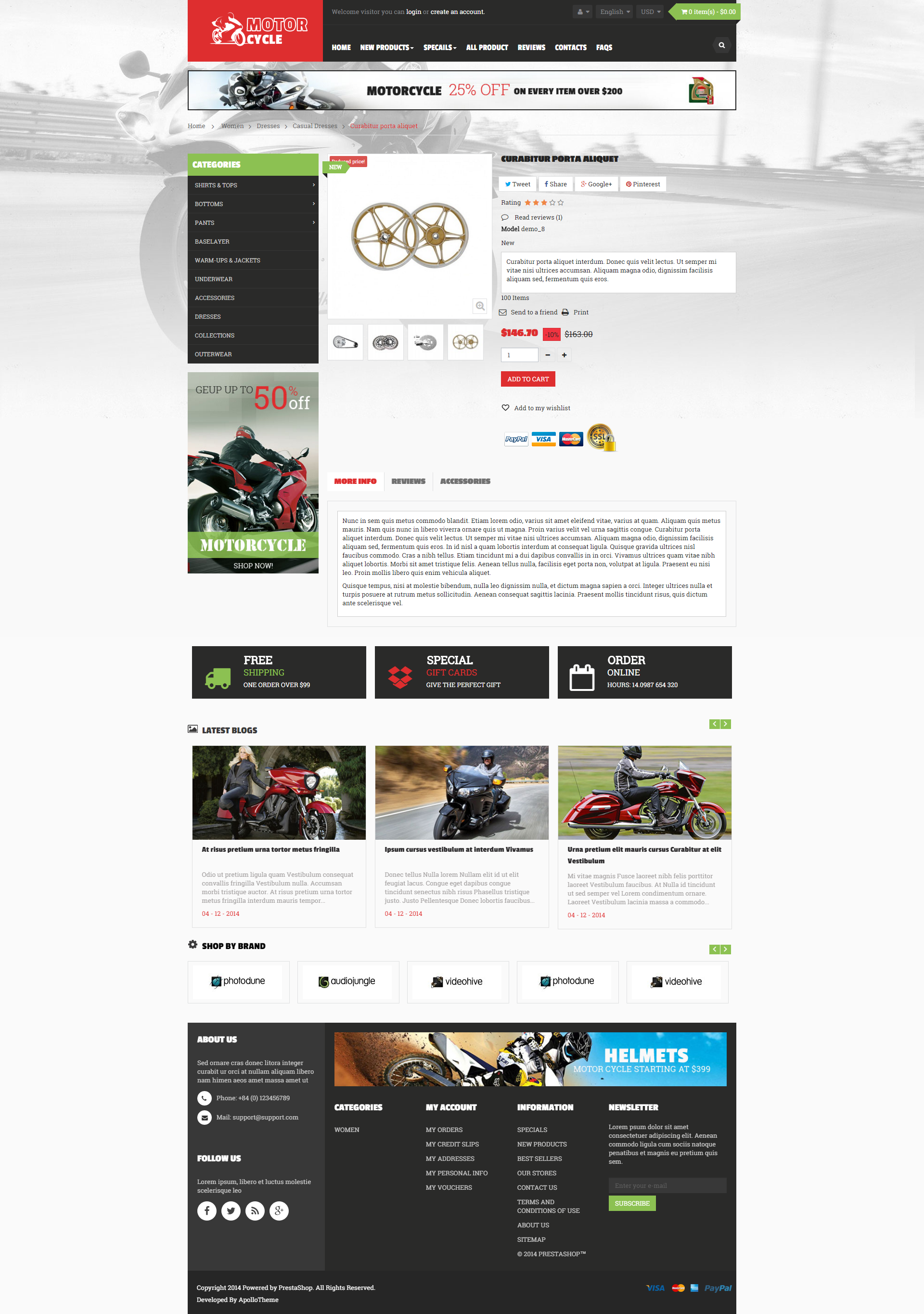 AP Motor Cycle is an excellent responsive prestashop theme with a