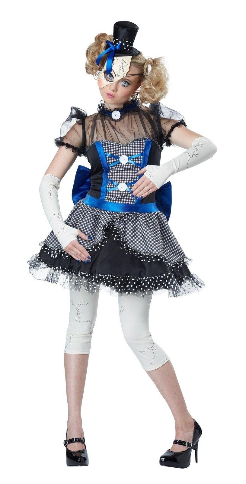 Girls Dark Possessed Rag Doll Halloween Horror Fancy Dress Costume Outfit