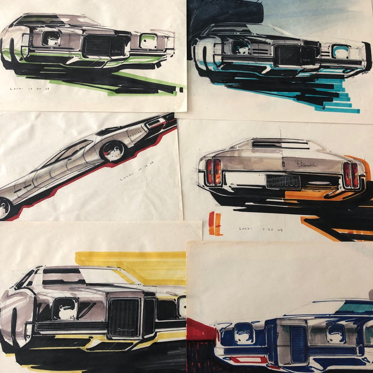 Original late 1960s car design renderings by notable car designer Geza Loczi. Very rare authentic art pieces #cardesign #cardesignworld #cardesignworld #vintage #oldsmobile #pontiac #Automobilia #Vintagecars #giftsforhim #Giftsfordad #Wallart #mancavegarage  #cardesigndaily
