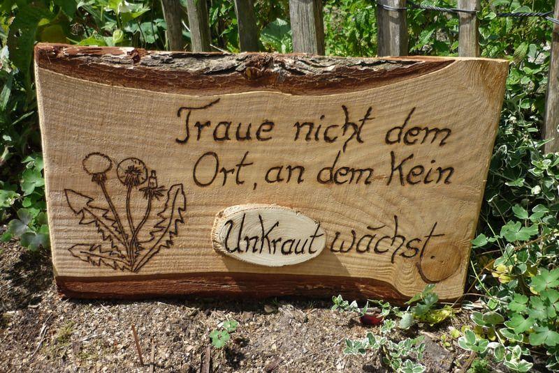 Garten zitat unkraut von holz kreativ auf for Deko schilder garten