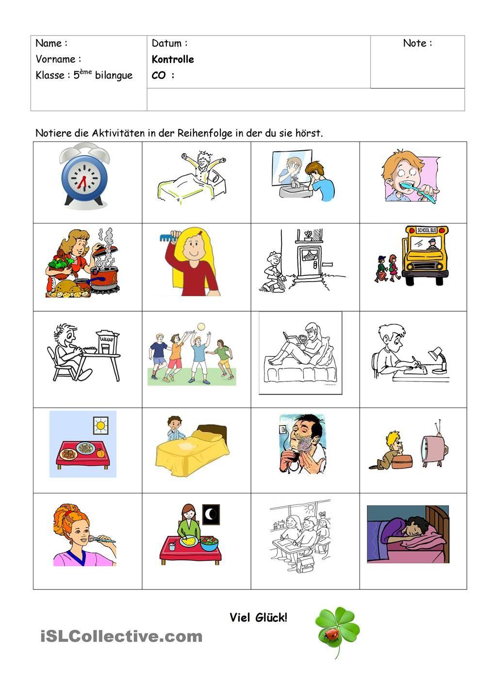 Tagesablauf Hörverstehen | Kinder | Pinterest