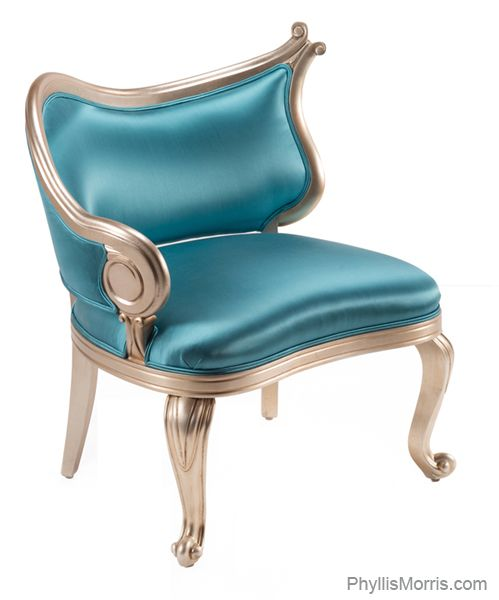 Superbe The Fantasy Riviera Salon Chair With Polished Silk Upholstery And White  Gold Leaf Finish.