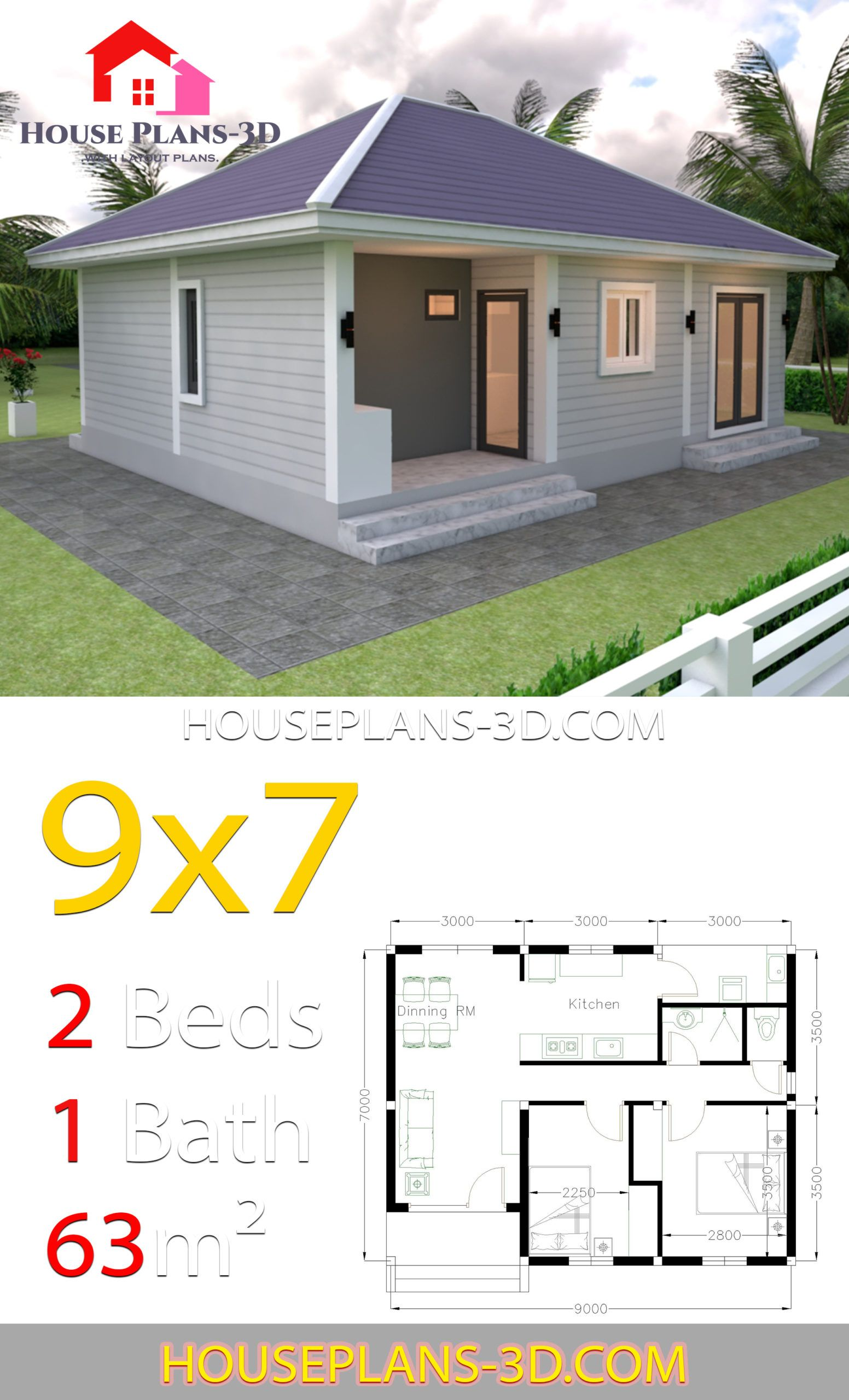 House Plans 9x7 With 2 Bedrooms Hip Roof House Plans 3d House Plans Affordable House Plans House Roof