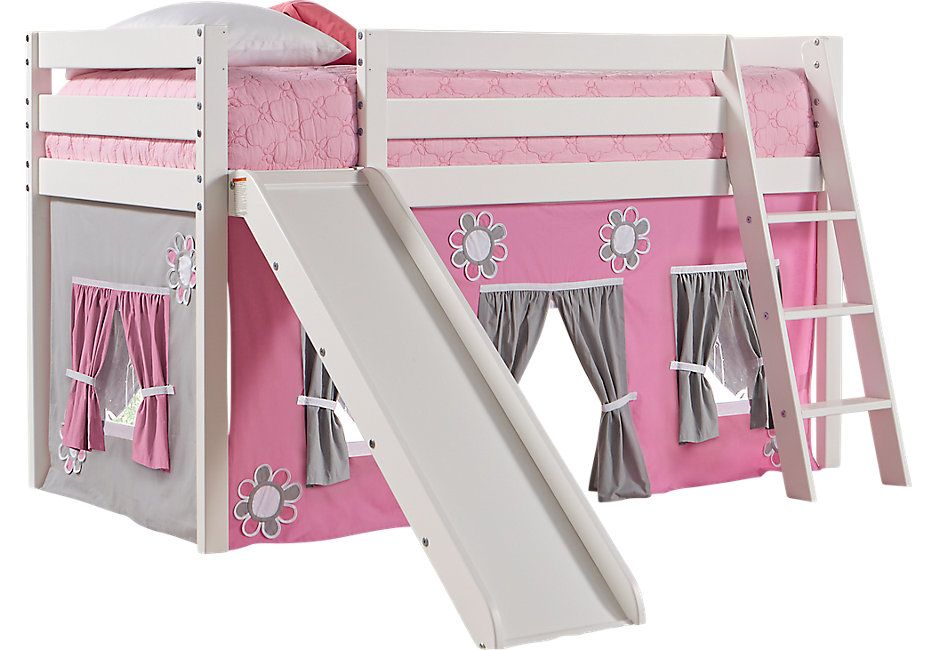 Pink Cottage White Jr Tent Loft Bed With Slide Bunk Beds Colors