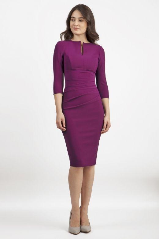 Lydia Three Quarter Plain Sleeve Dress - from Diva Catwalk UK 6a0b65a7f