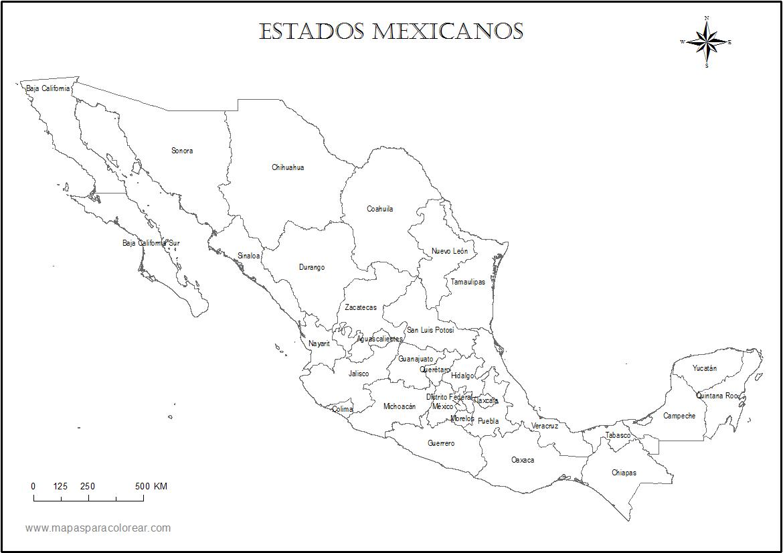 Mapamexicoestadosnombrespng Mapa Pinterest - Mapa de mexico