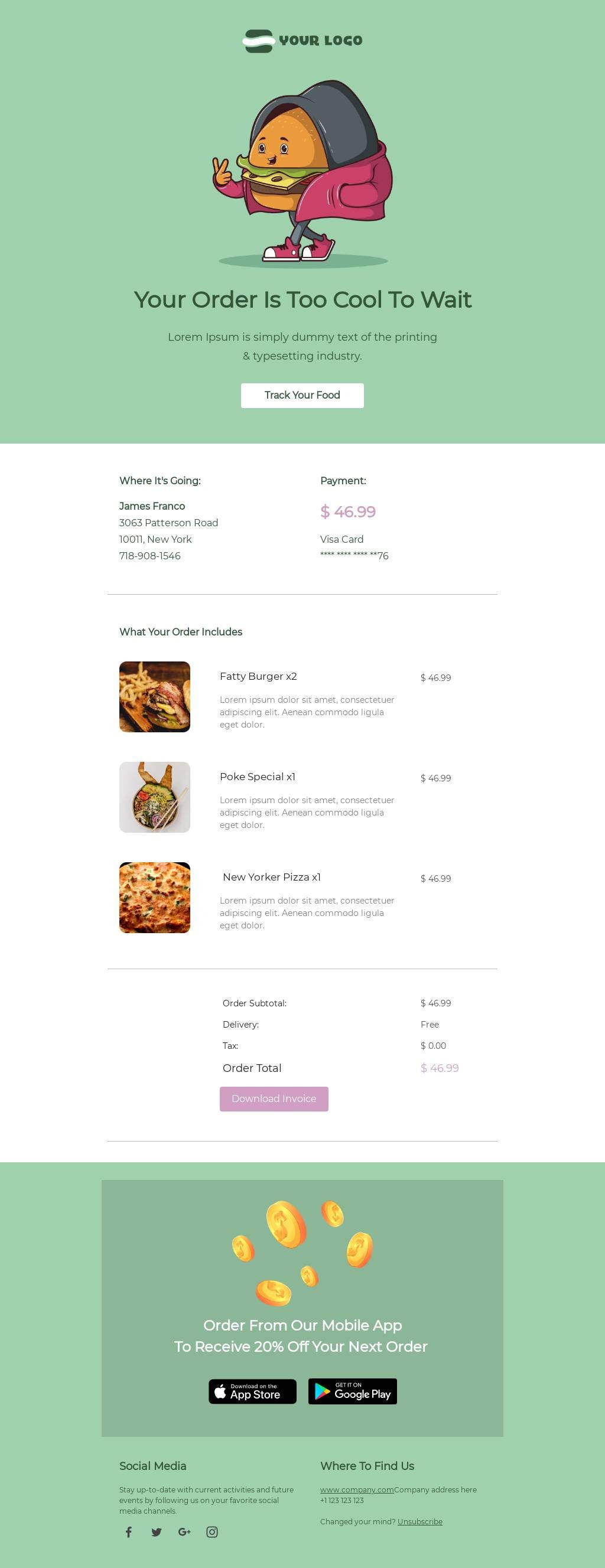 Track Your Food Email Transactional Template Professional Email Templates Email Templates Email Template Design