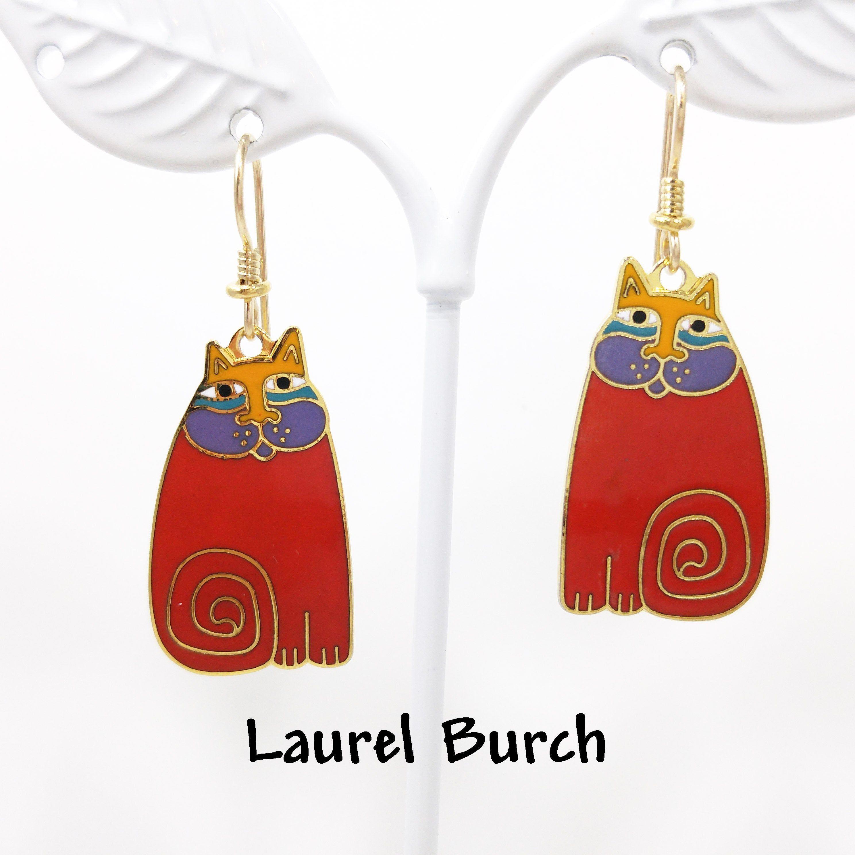 Vintage Earrings,Laurel Burch Ivory Enamel Drop Earrings