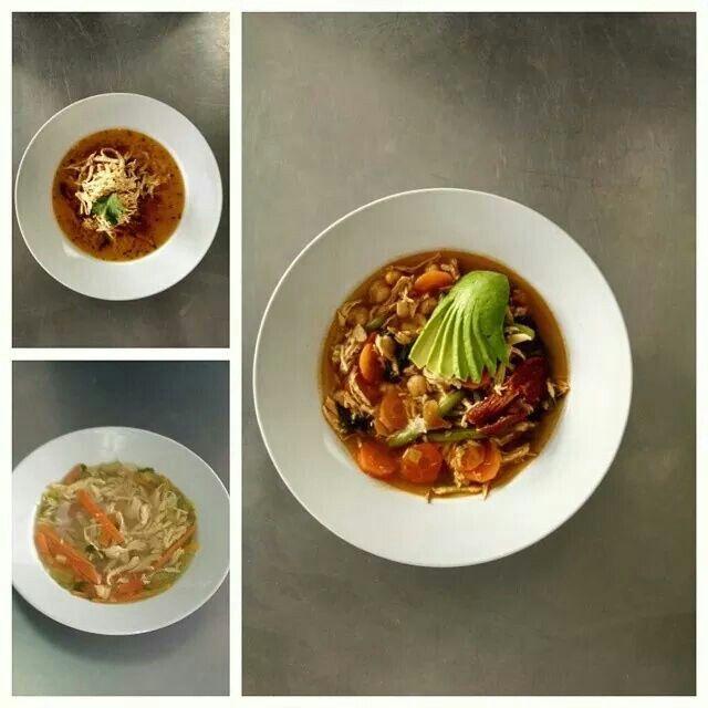 Sopa de Lima, Caldo de Pollo & Caldo Tlalpeño.