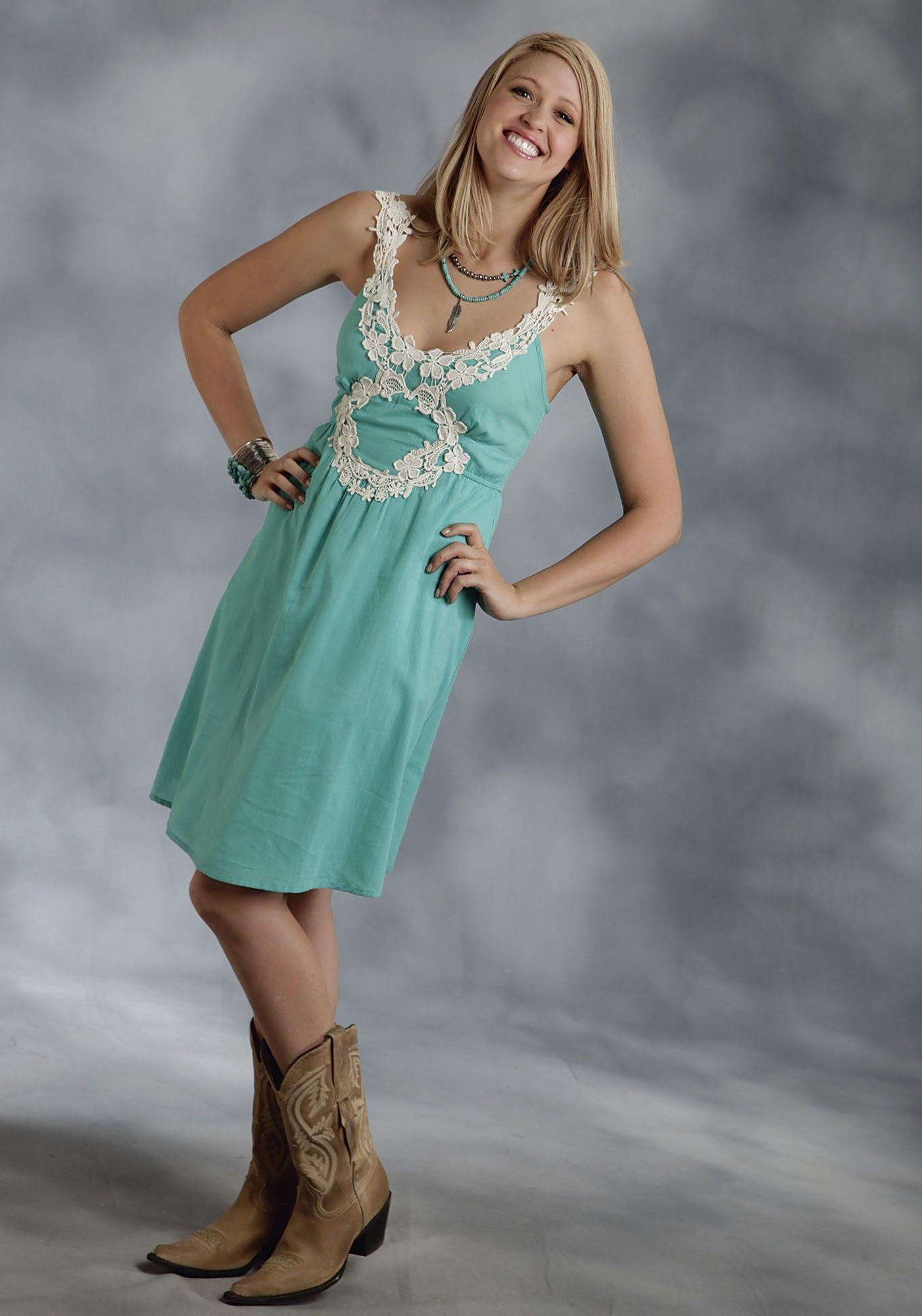 Roper® Turquoise Cotton Lace Applique Western Sun Dress   Beauty ...