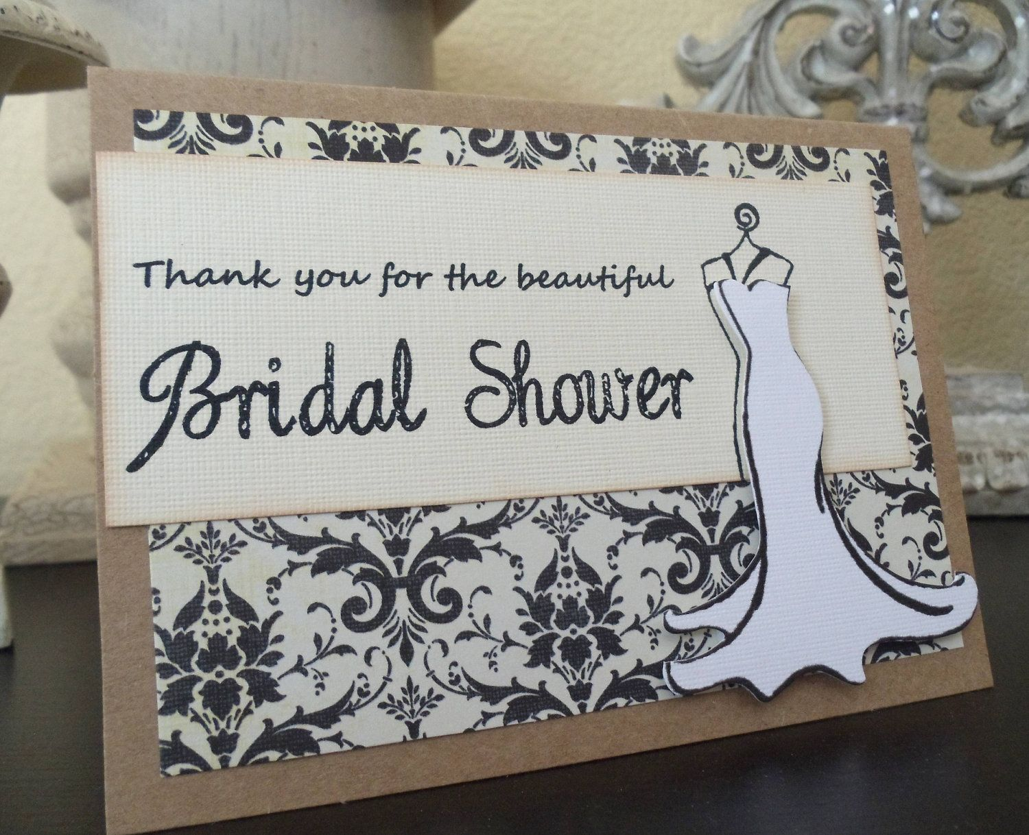 Bridal shower thank you 6 cards wedding damask by