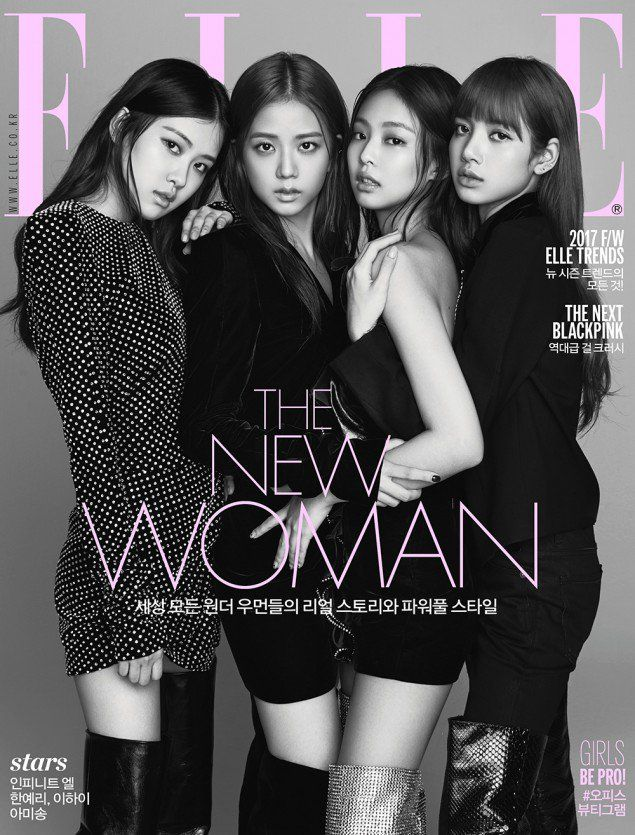 Black Pink Members Are The Chic Cover Models For Elle Black Pink Kpop Blackpink Fashion Black Pink