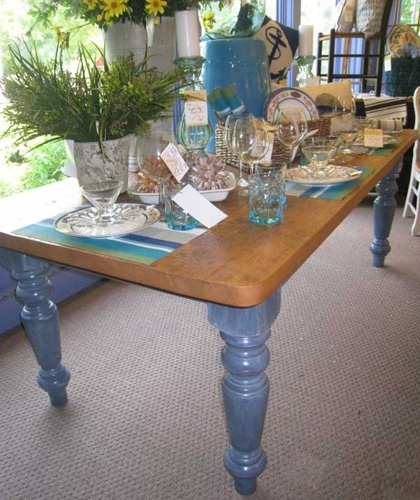 FARMHOUSE TABLE: Beautiful 100 Year Old Reclaimed Barnwood Top On This 7ft. Farmhouse  Table