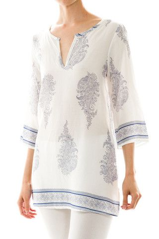 Calypso Tunic Blouse - White + Blue - $36.00 | Daily Chic Tops | International Shipping