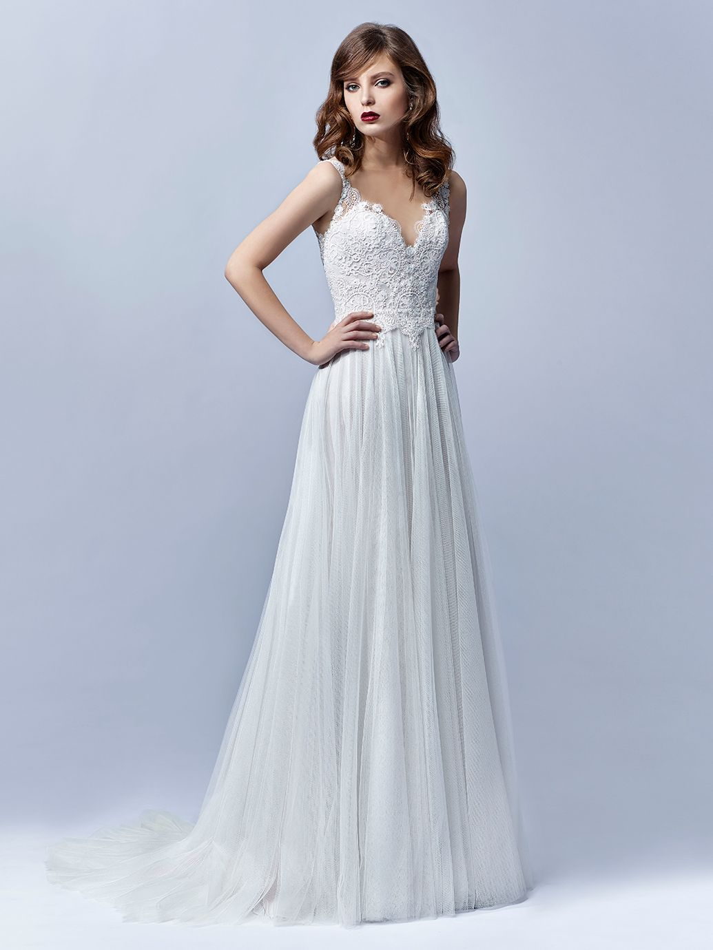 Embroidered lace and tulle wedding dress by enzoani love the deep embroidered lace and tulle wedding dress by enzoani love the deep sweetheart neckline on this ombrellifo Choice Image