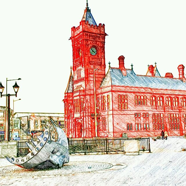 Cardiff #SketchGuru having fun in England capturing pictures by cellphone and editing with apps. by BeyondtheWhiskers, via Flickr