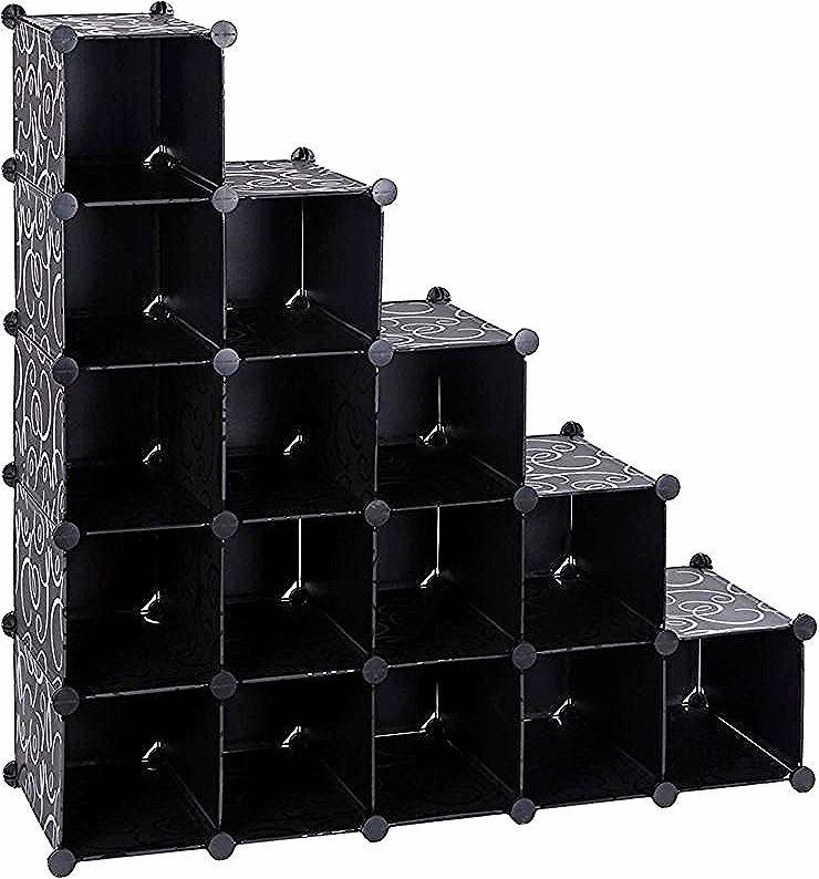 Armoire Etagere De Rangement A Chaussures En Plastique Noire Imprimee 4 X 4 Cubes 92 5 X 37 X 92 5cm L X L X H Lpc44hv1 Songmics