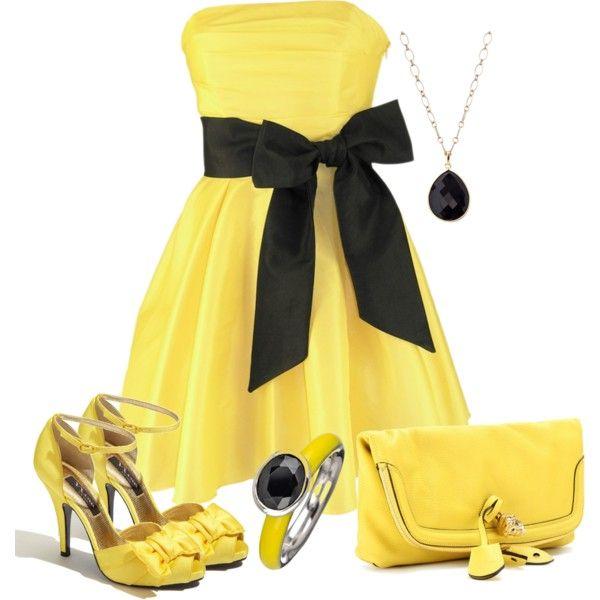"""Yellow and black"" by barbarapoole on Polyvore"