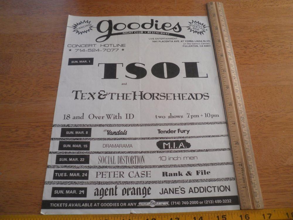 TSOL Tex & the Horseheads Vandals 1980s ORIGINAL Punk Rock concert poster