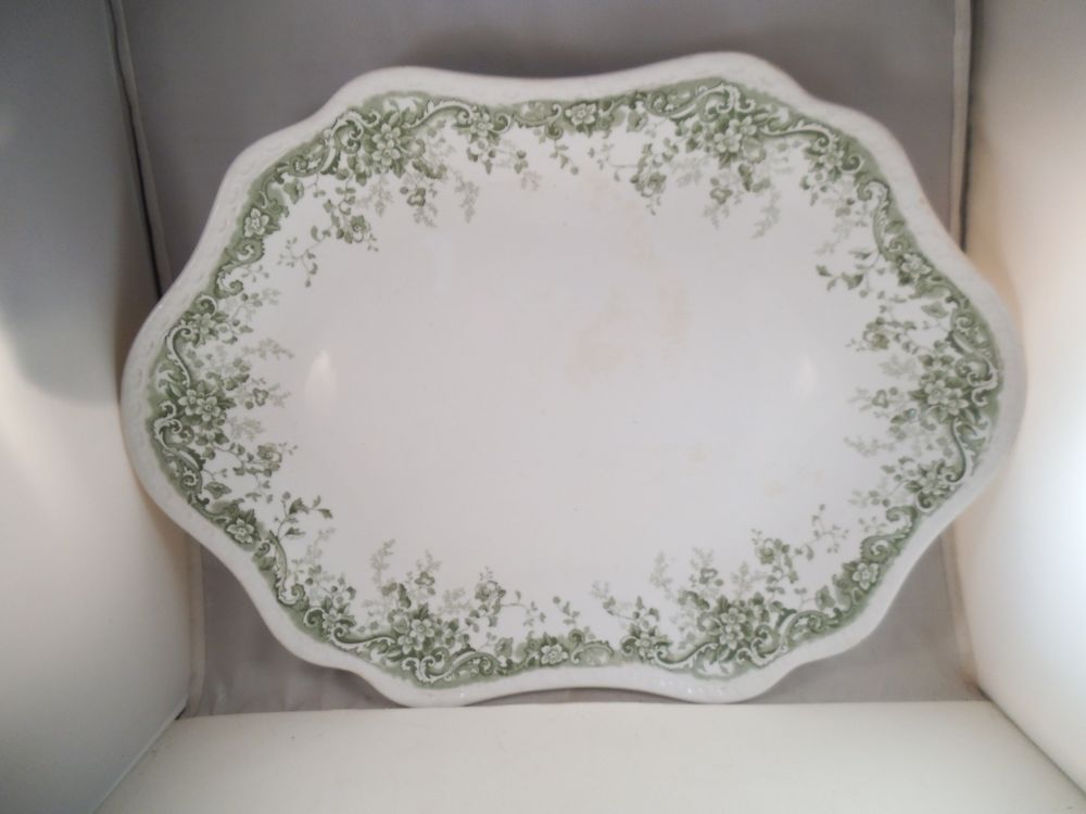 Vintage JHW \u0026 Sons Hanley Eureka Turkey Serving Platter Green Flowers & Vintage JHW \u0026 Sons Hanley Eureka Turkey Serving Platter Green ...