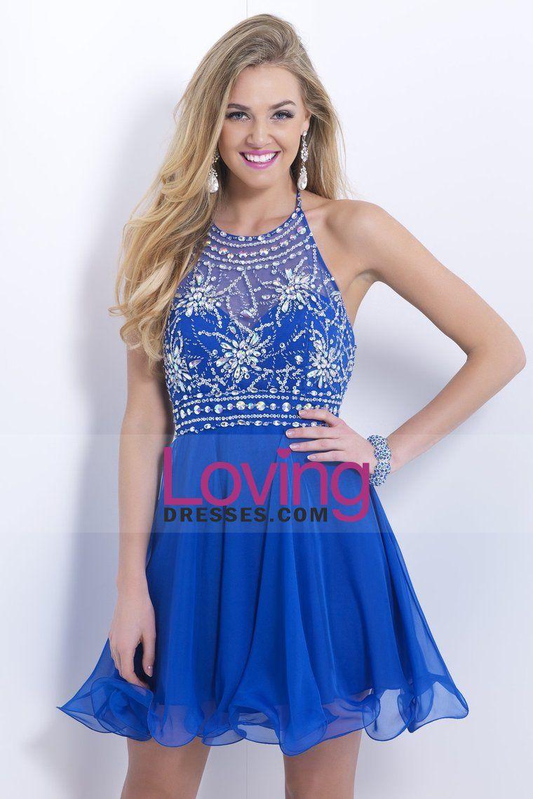 2014 Halter Short/Mini Prom Dress Beaded Bodice A Line Pick Up Chiffon Dress Open Back
