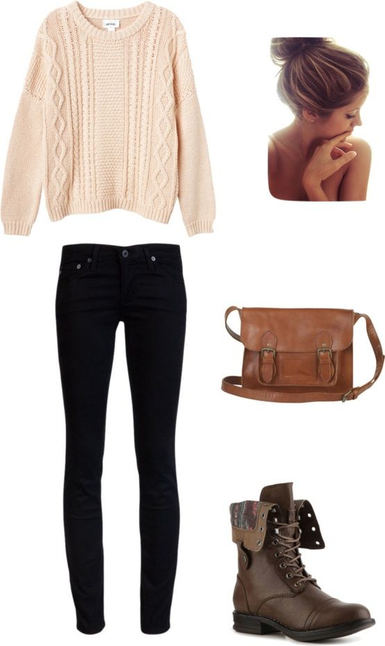 love sweater and jeans, not a fan of the bag and shoes though