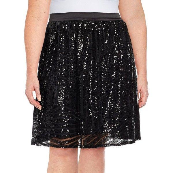 Modamix Plus Sequin Flared Skirt ($65) ❤ liked on Polyvore featuring skirts, black, skater skirt, sequin skirt, flared skirt, sequin skater skirt and circle skirt