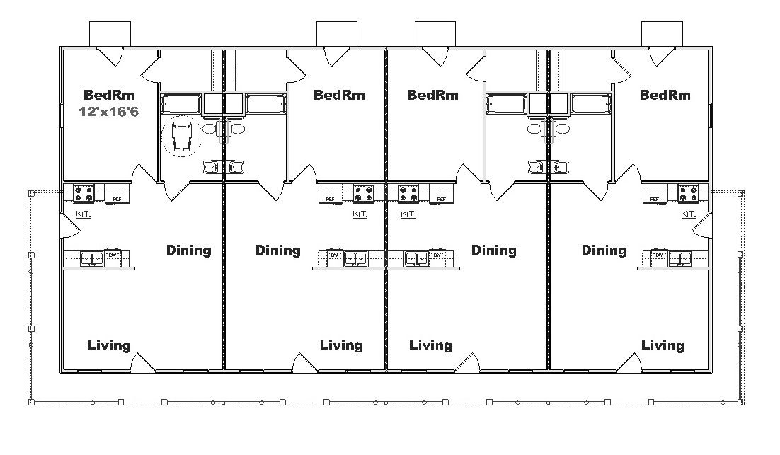 Multi plex house plans and multi family floor plan designs for Multi family building plans