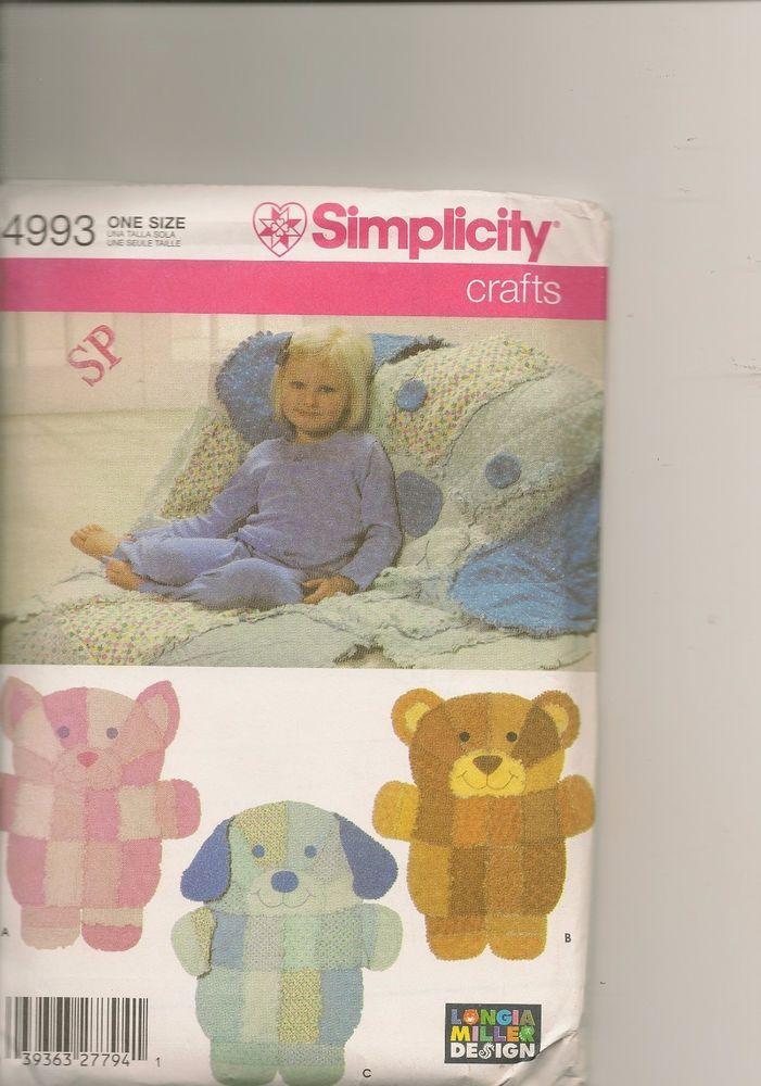 Simplicity 4993 Pattern Rag Quilt Animal Blanket Bear Dog