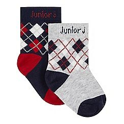 83a1b2bc5da J by Jasper Conran - Pack of two designer babies grey and red argyle socks