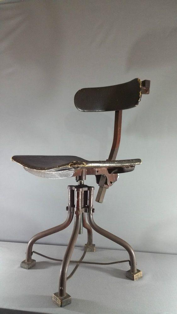 Tremendous Vintage Industrial Machinist Desk Chair Metal Swivel Chair Lamtechconsult Wood Chair Design Ideas Lamtechconsultcom
