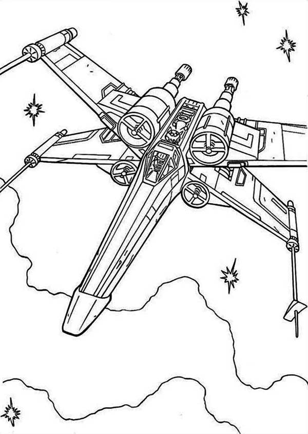 X Wing Fighter Drawing : fighter, drawing, Fighter, Coloring, Download, Print, Online, Pages, Fre…, Pages,, Sheet,