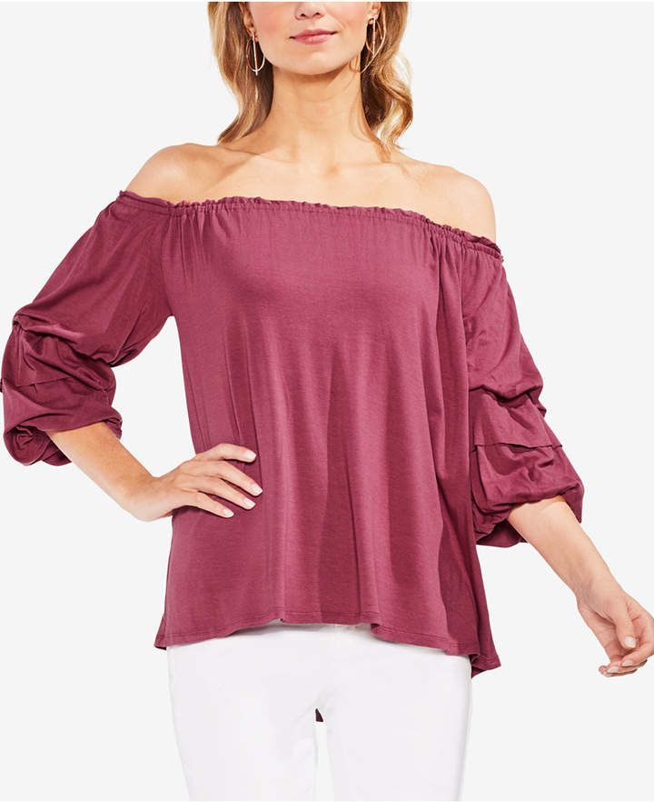 25fd4ee9adc32 Vince Camuto Off-The-Shoulder Bubble-Sleeve Top