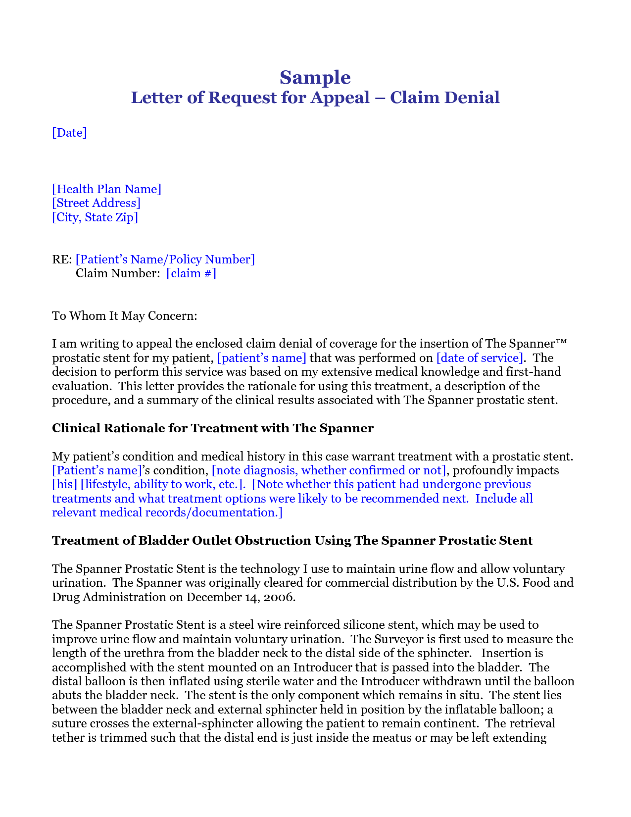 Medical Claim Appeal Letter Insurance Sample How Write Cover