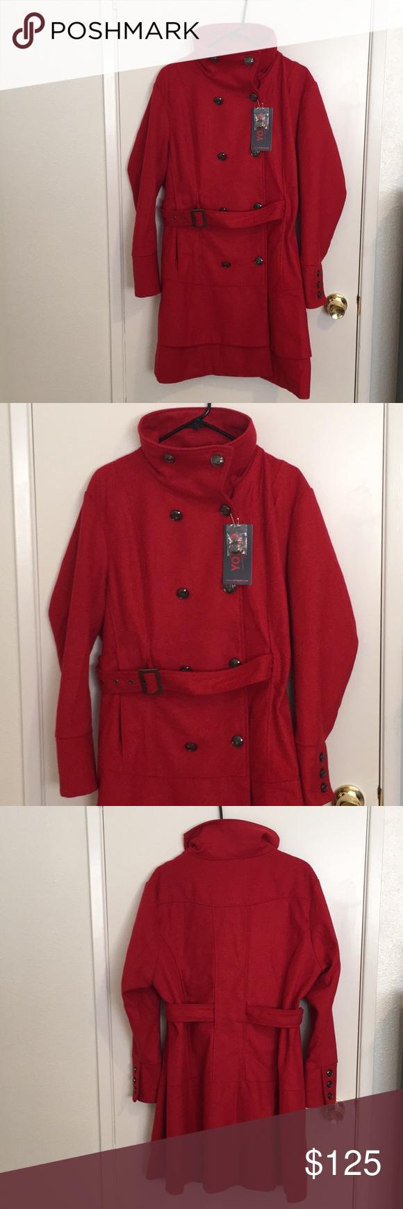 New York Yoki Outerwear Red Jacket Pea Coat Red Jacket Clothes Design Yoki [ 1740 x 580 Pixel ]