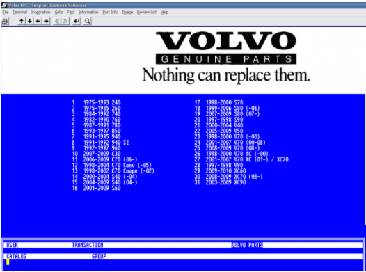 Volvo Usa 50 00 Parts Catalog Electronic Parts Volvo