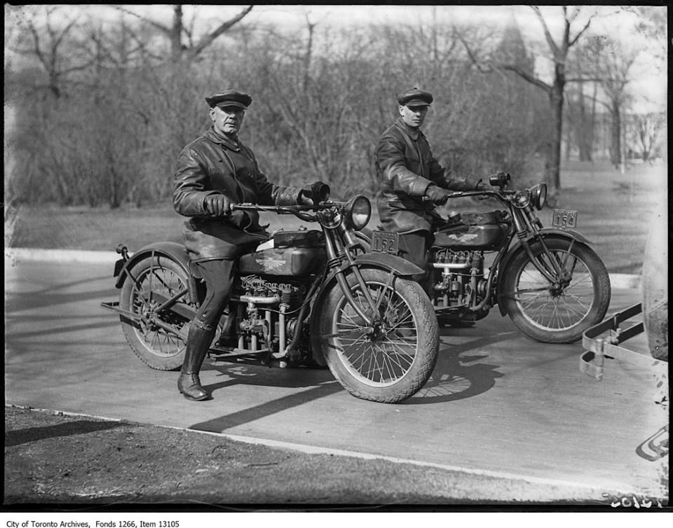 Two Toronto Police officers on motorcycles. This City of Toronto Archives photo was taken on April 10, 1928. Not sure what type of bikes those are. Do you?