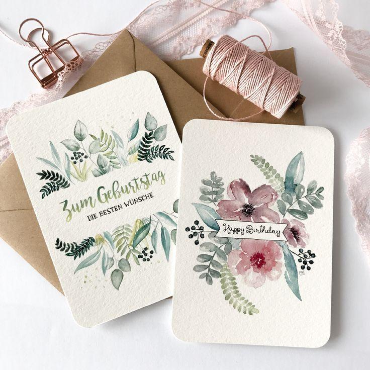 Geburtstagswünsche, Postkarten 2erSet A6, Flowers Aquarell/Watercolor