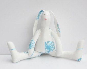 READY TO SHIP Stuffed bunny doll purple soft por HappyRetroVintage