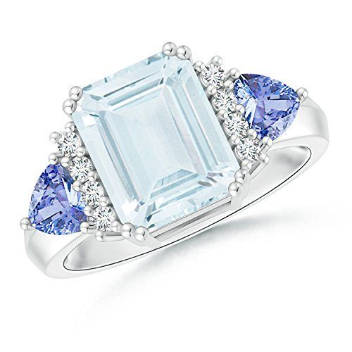 Angara Aquamarine and Tanzanite Three Stone Cocktail Ring in Platinum n6t2QIz9M