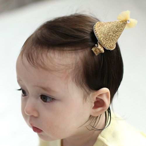 Baby Girl Cone Hair Clip Sparkly Bejeweled Party Hat Gold Available In 2 Colors On Etsy 1200