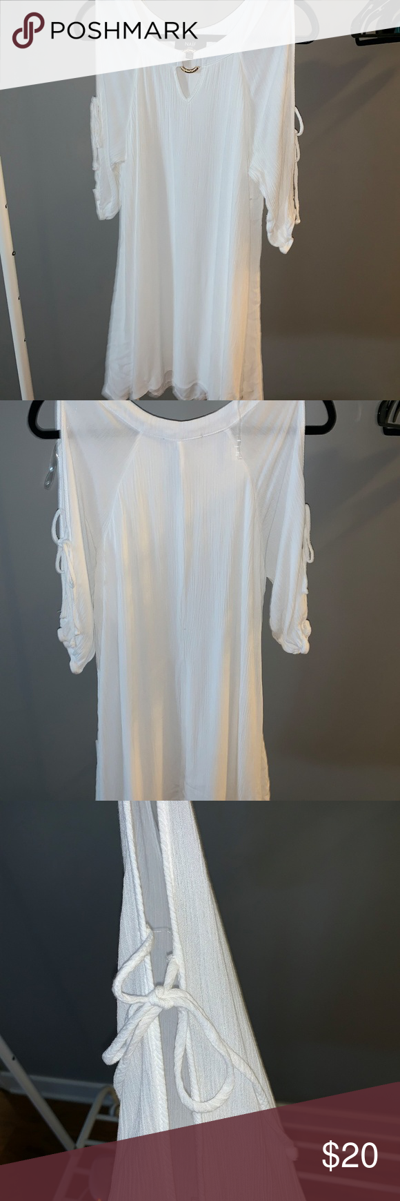 Naif White Dress With Arm Cutouts Naif White Dress With Arm Cutouts Size PL 100% Rayon NWOT naif Dresses Midi